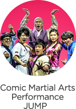 comic martial arts performance jump